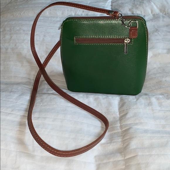 Vera Pelle green leather crossbody purse